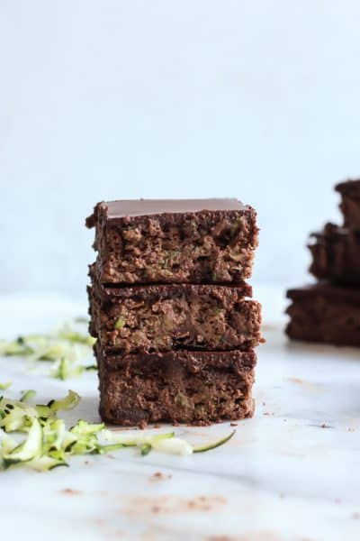 Paleo Flourless Zucchini Brownies with Chocolate Almond Butter Ganache