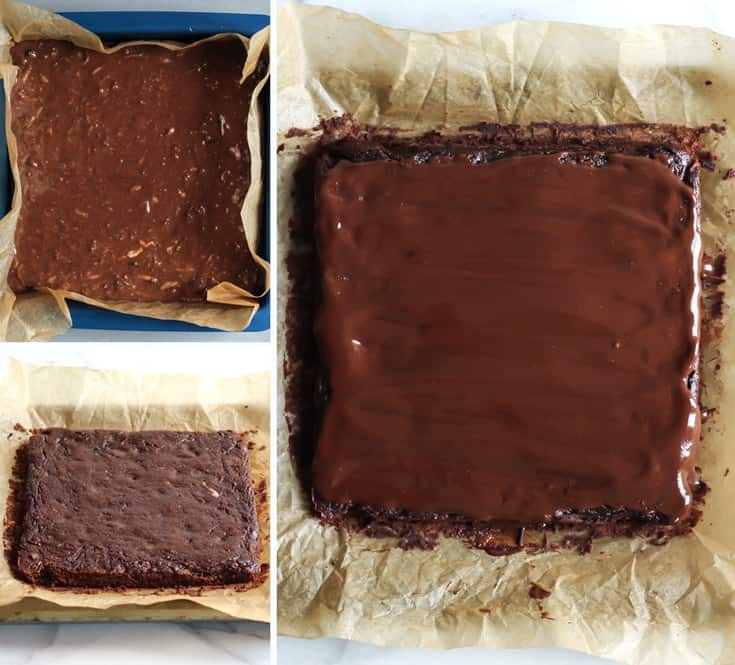 zucchini brownie batter in baking pan, baked on parchment paper, and chocolate ganache covered