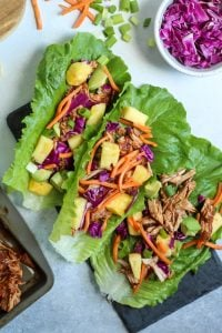 Pineapple BBQ Pork Lettuce Wraps. Paleo, and whole30 compliant! This is a great meal prep dinner, and perfect lunch leftovers.