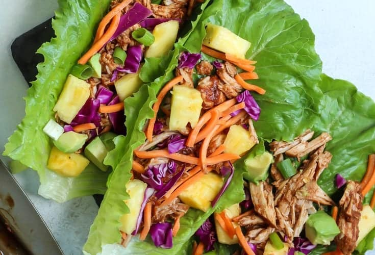 Slow Cooker Pineapple BBQ Pork Lettuce Wraps [ Paleo, Whole30 ]
