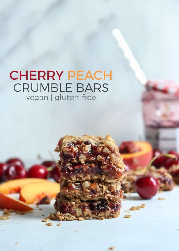 Vegan and Gluten-free Cherry Peach Crumble Bars! Getting the best of both worlds in this delicious combo. Who doesn't love a good crumble?! And now you can enjoy them in bar form