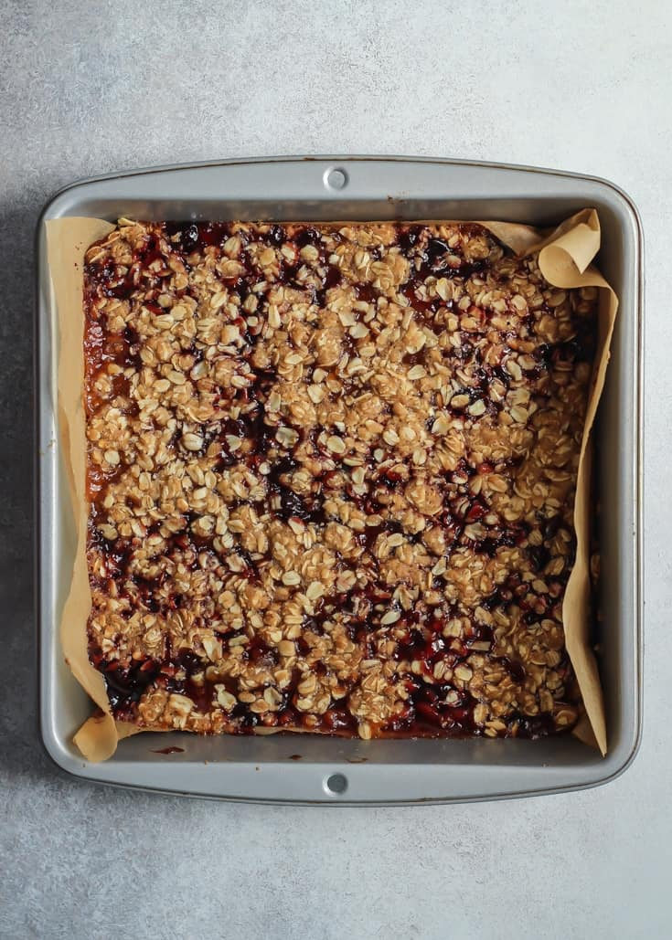 Simple steps for these Vegan Gluten Free Cherry Peach Crumble Bars