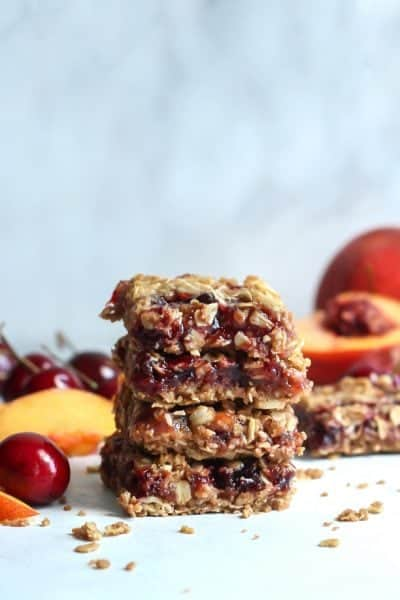Vegan Cherry Peach Crumble Bars [and a chat about food freedom]