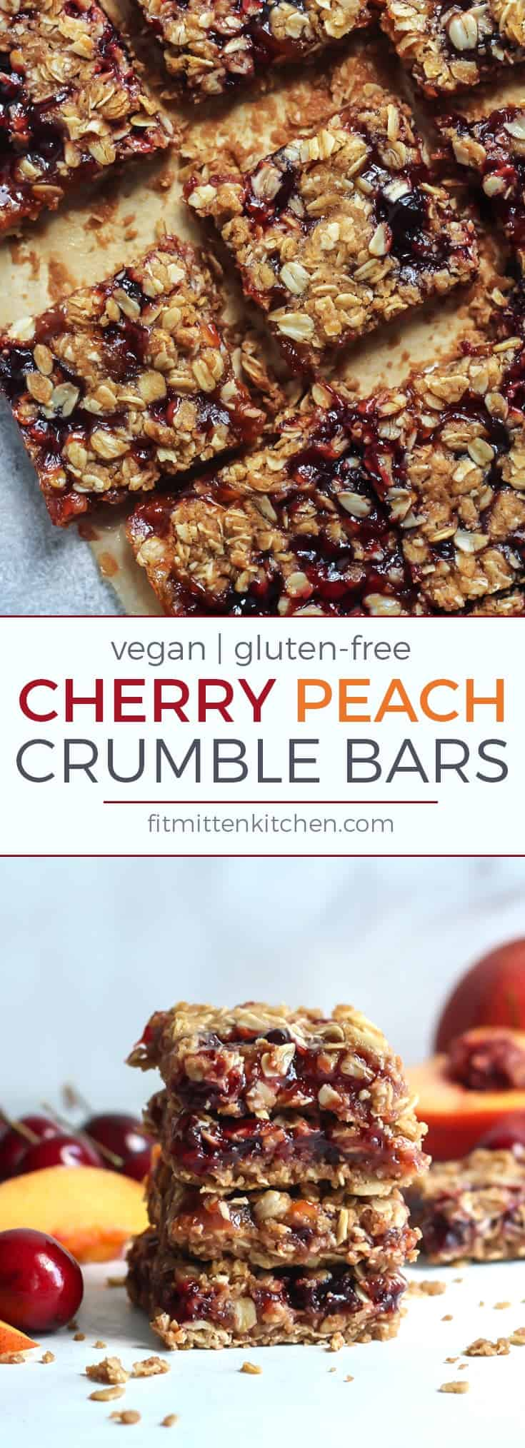 These Cherry Peach Crumble Bars are an absolute MUST. Vegan, gluten-free and quite simple! It's like peach crumble in bar form... plus cherries!