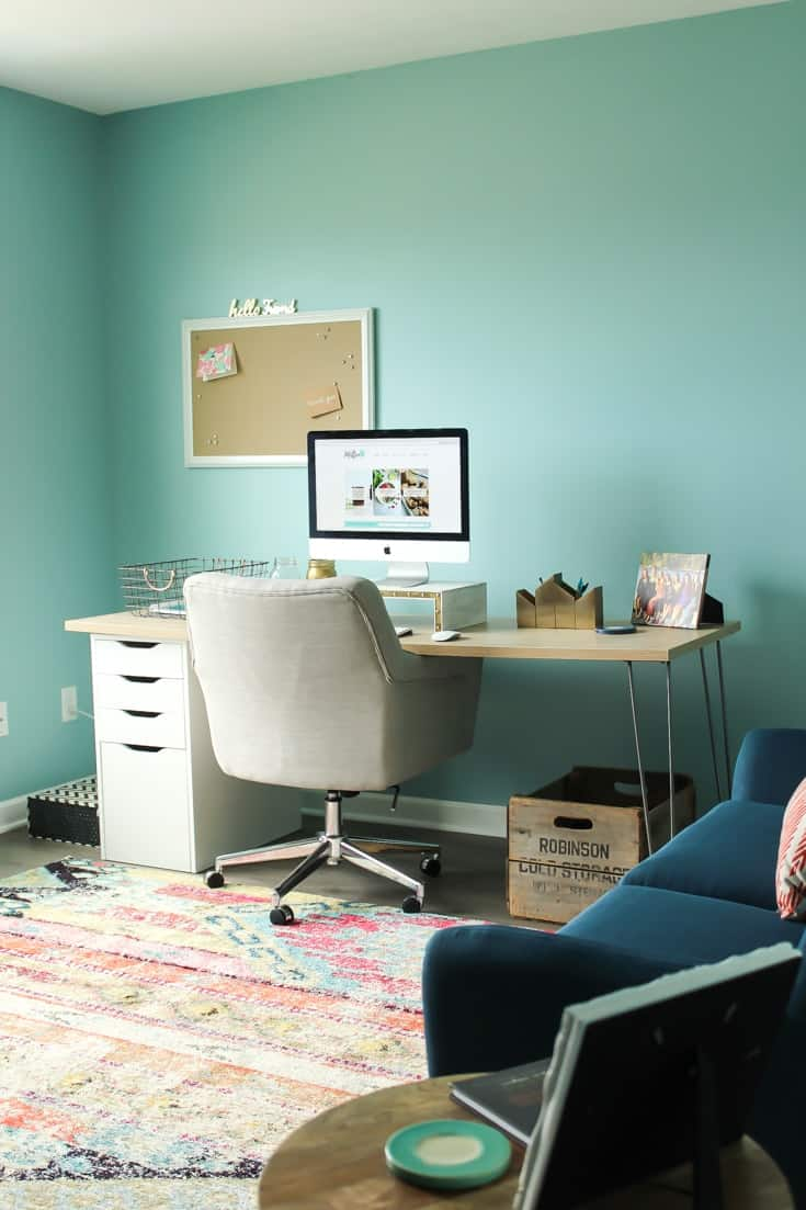 """My new home office! DESK: IKEA storage drawer + """"oak"""" butcher block and hairpin legs from Etsy shop. Accessories: Target."""