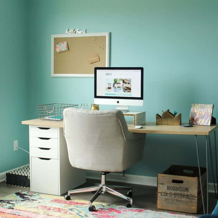 Welcome to my colorful new home office!