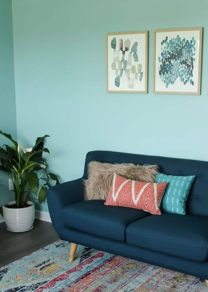 Pulled in the colors from the rug into the throw pillows for the loveseat!