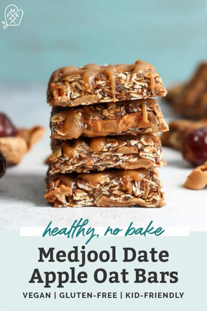 medjool date apple oat bars stacked on counter
