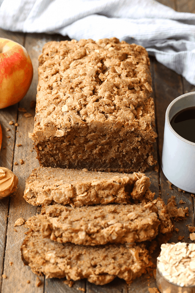 MUST MAKE APPLE RECIPES - Peanut Butter Apple Streusel Bread - Fit Foodie Finds