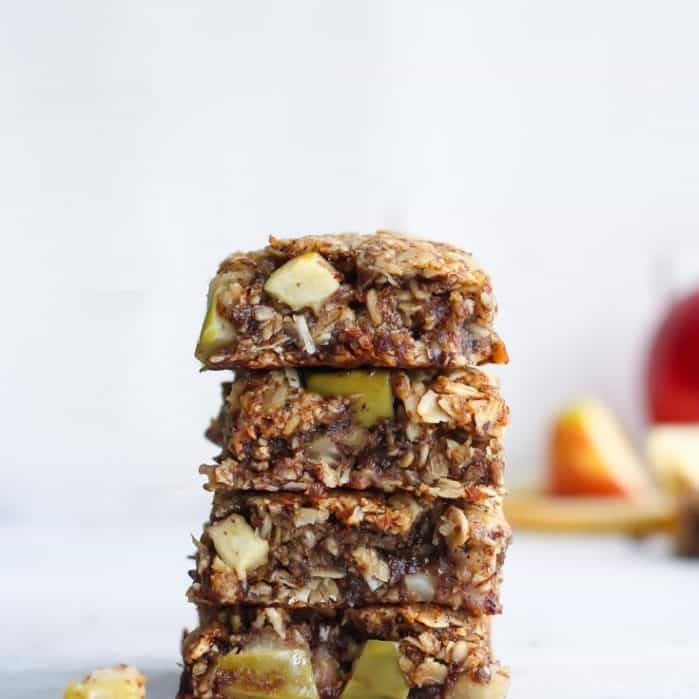 stack of apple oatmeal cookie bars