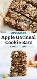two photos of apple cinnamon oatmeal cookie bars stacked and cut up