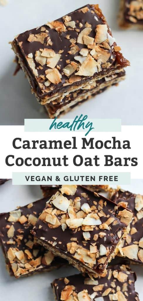 vegan caramel mocha coconut oat bars pinterest image