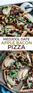 So many delicious things happening here! Medjool Date Apple Bacon Pizza – perfect for any day of the week!