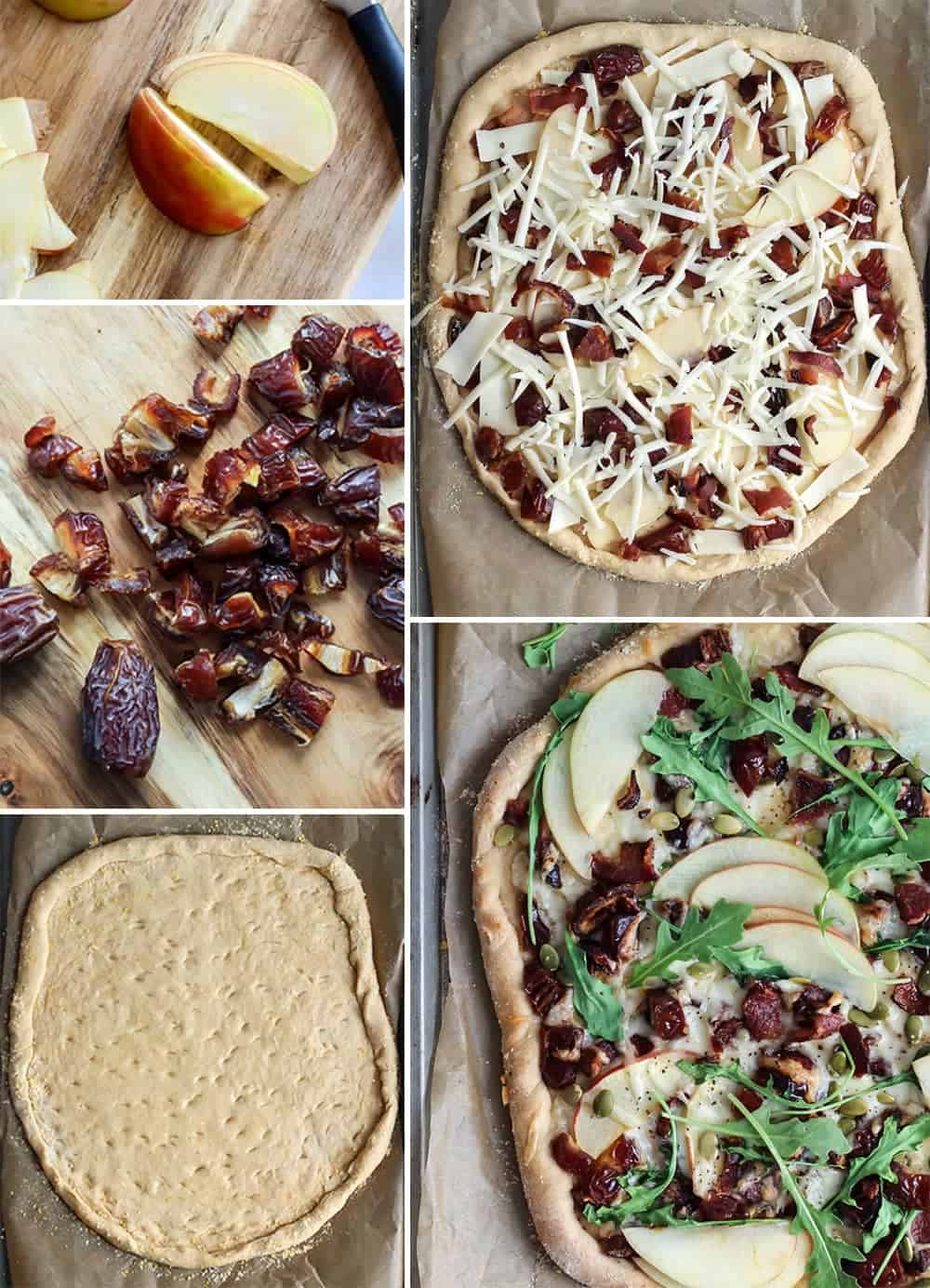 This pizza is the best! Medjool dates, apple, bacon and fontina cheese. Love. | Medjool Date Apple Bacon Pizza #pizzanight