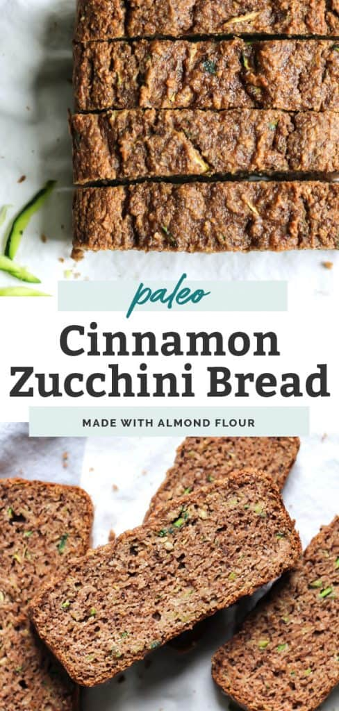 Two images of paleo cinnamon zucchini bread, sliced, sitting on counter with text overlay