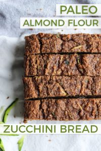 sliced cinnamon zucchini bread loaf with text overlay