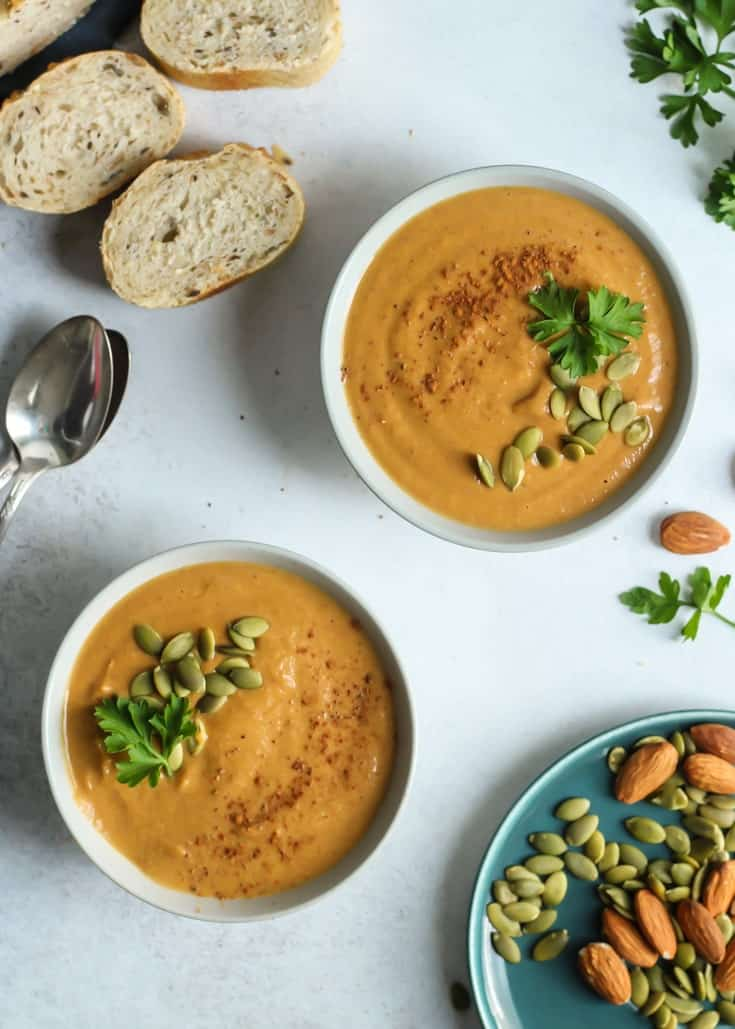 A Simple Almond Butter Pumpkin Soup that is easy and quick! Vegan, gluten-free, paleo and even Whole30 compliant because there are no added sugars. Ready in less than 30 minutes!