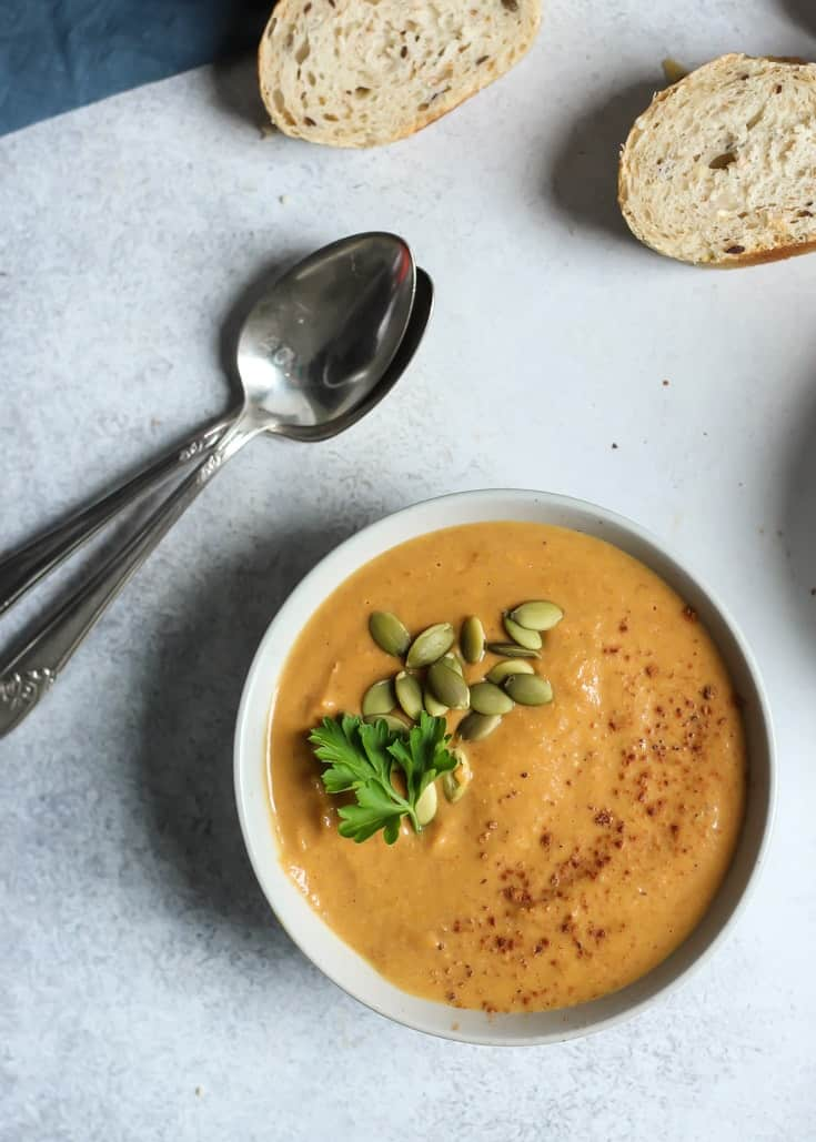 The easiest and most simple Pumpkin Soup, with almond butter! Quick, vegan, paleo and whole30