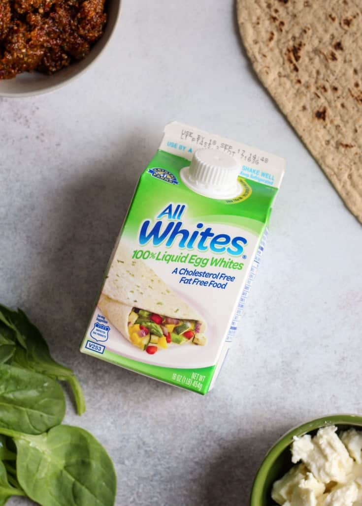 Simple ingredients used for this egg white wrap! Perfect for a satisfying breakfast or a great option for dinner even!