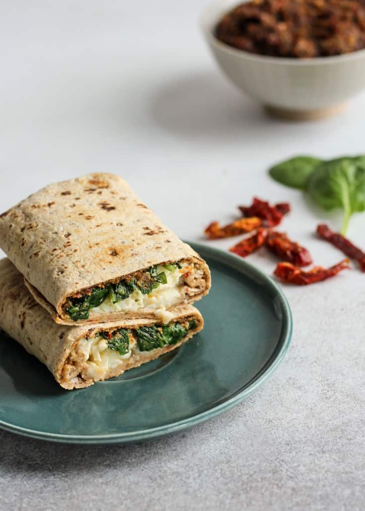 Sun-Dried Tomato Spinach & Egg White Wrap on a plate
