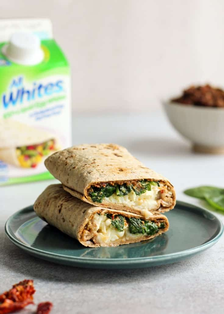 Sun-Dried Tomato Spinach & Egg White Wrap on blue plate