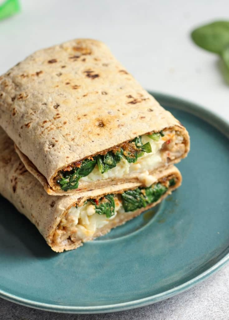 This Sun-Dried Tomato Pesto Spinach Egg White Wrap is like your favorite coffee shop version, made at home! Vegetarian, gluten-free friendly.
