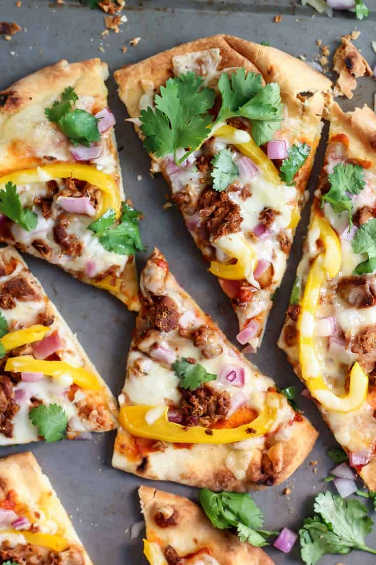 This Tandoori Tuna Naan Pizza takes less than 20 minutes! The perfect weeknight dinner!