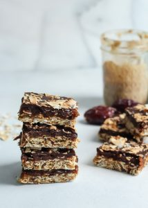 These Vegan Caramel Mocha Coconut Oat Bars are no bake, naturally sweetened and the best healthy treat. Gluten-free.