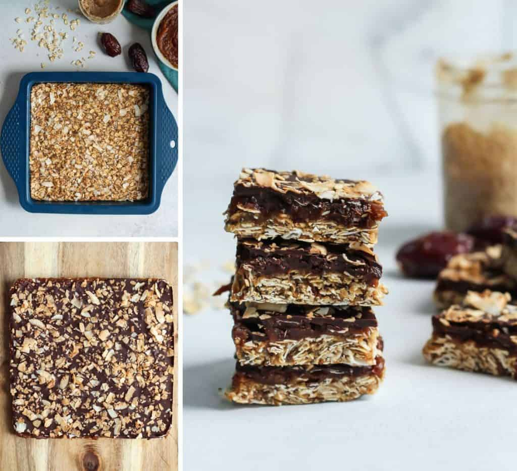 Easy, no-bake and vegan Caramel Mocha Coconut Oat Bars. Just a few steps, ready in no time!