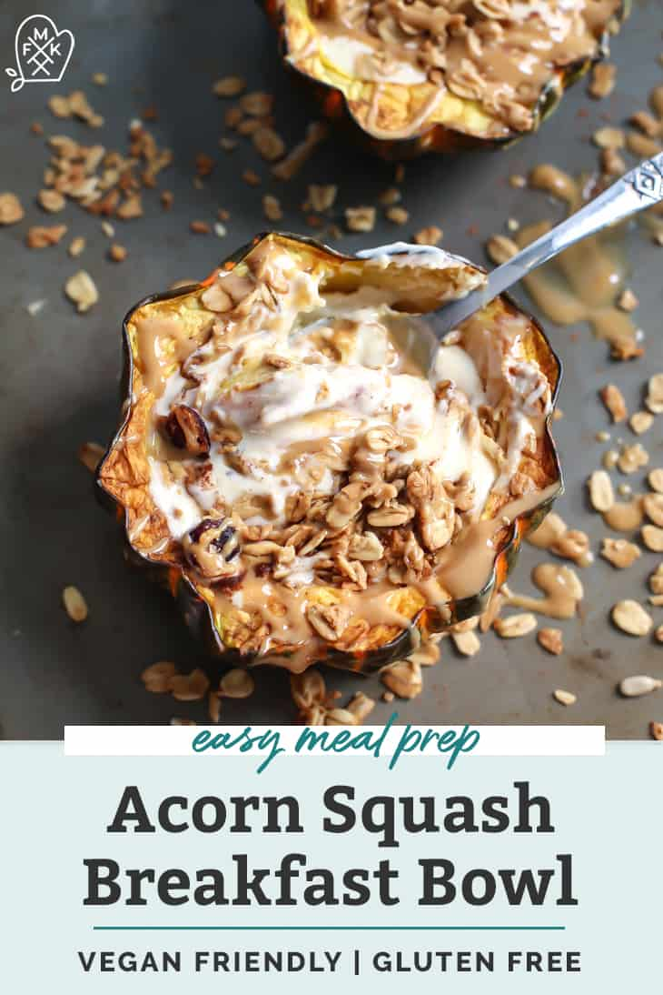 acorn squash with granola on cookie sheet with spoon