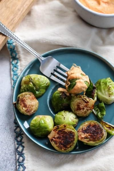 Skillet Cinnamon Brussels Sprouts with Spicy Pumpkin Aioli