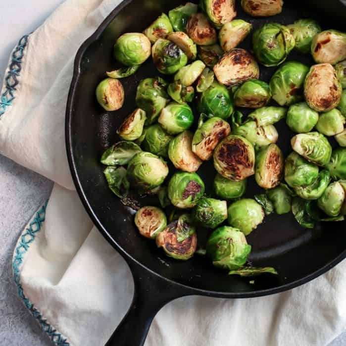 Stovetop Skillet Cinnamon Brussels Sprouts! Perfect as a fall side dish with the pumpkin aioli.