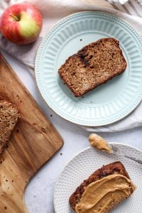 Greek Yogurt Whole Grain Apple Bread! Soft, moist and perfect with your favorite nut butter.