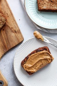 Greek Yogurt Whole Grain Apple Bread. A simple recipe you can also make with gluten-free 1:1 flour! This is so good with peanut butter!