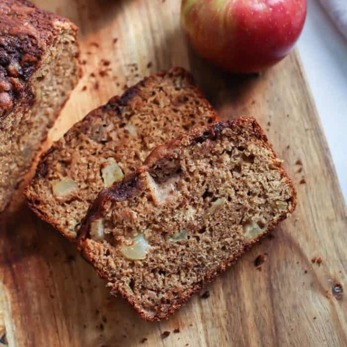 Greek Yogurt Whole Grain Apple Bread. A simple recipe you can also make with gluten-free 1:1 flour!