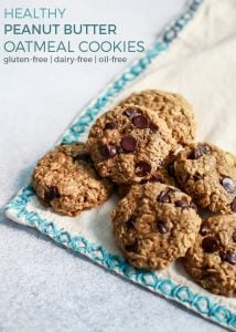 Healthy Peanut Butter Oatmeal Cookies! ...With chocolate chips :-) These cookies happen to be oil-free, dairy-free and gluten-free – no flour used, just oats! Simple and delicious, plus healthy enough for breakfast.