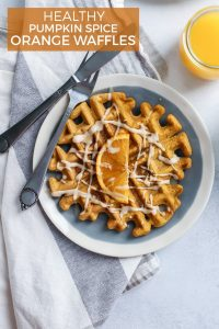 Healthy Pumpkin Spice Orange Waffles made with Trop50 orange juice beverage. These waffles are crispy on the outside, soft on the inside. Made with whole grain flour –gluten-free friendly and dairy-free too!