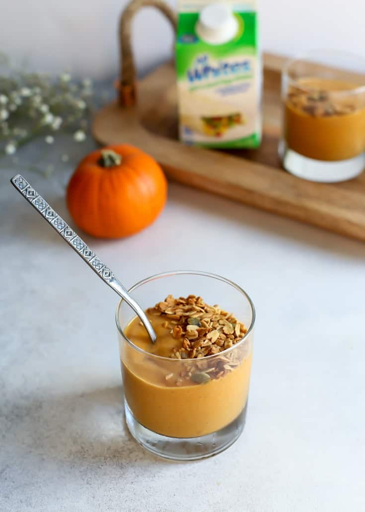 Protein packed but no powders! This Paleo Chai Pumpkin Protein Smoothie is perfect for fall. Whole30 compliant too.