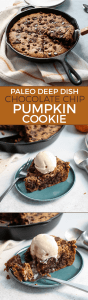 A Paleo Deep Dish Chocolate Chip Pumpkin Cookie Skillet. Perfect for a crowd. Made with grain-free flour, cashew butter and real pumpkin. This dessert is going to blow you away! Dairy-free, gluten-free, paleo.