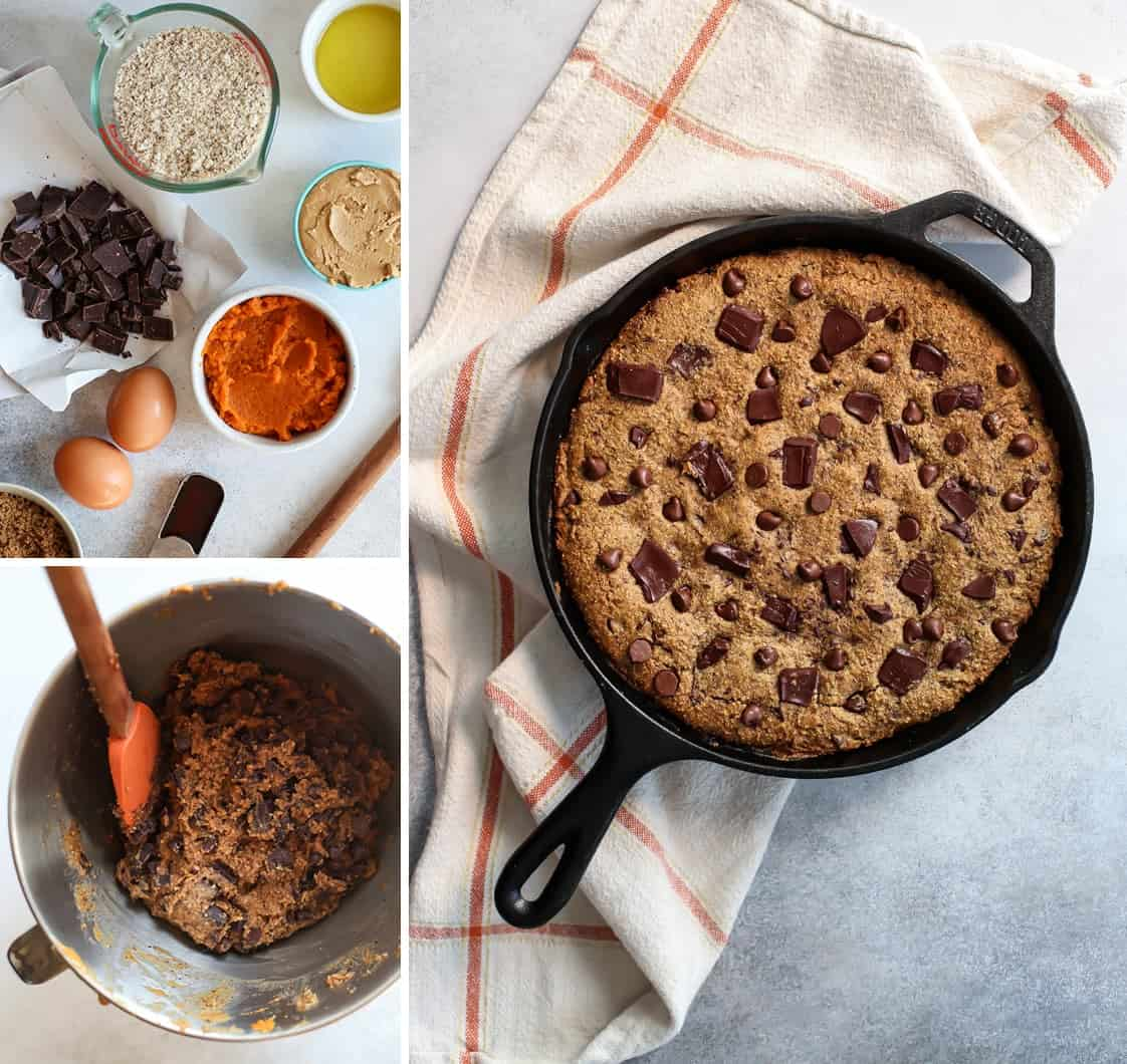 chocolate chip pumpkin skillet cookie ingredients mixed in batter bowl and baked in giant skillet