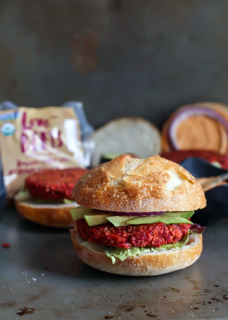 Quinoa Sweet Potato Beet Burgers! Made with cooked Love Beets. They're vegan,gluten-free and made in a blender! (sponsored)