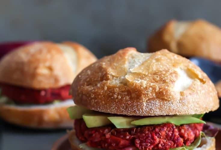 Sweet Potato Beet Burgers with Spicy Pumpkin Aioli [ V, GF ]