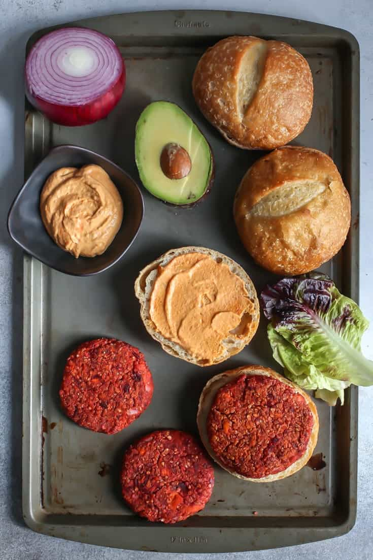 Sweet Potato Beet Burgers with spicy pumpkin aioli! Perfect for fall