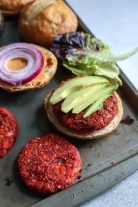 Sweet Potato BEET BURGERS! These are heavily loaded with spices and the beets really aren't too overpowering at all! Perfect for Meatless Monday