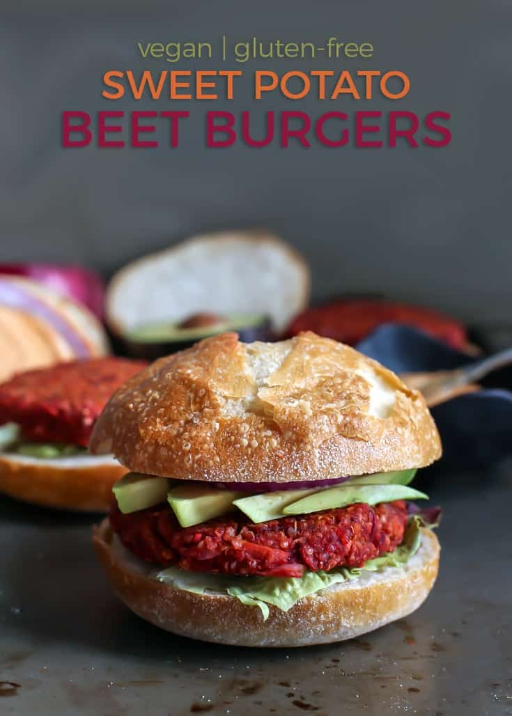 These Sweet Potato Beet Burgers are going to be your new favorite veggie burger. Gluten-free, vegan and perfect for any night of the week! Top with avocado and a spicy pumpkin aioli for the perfect combo.