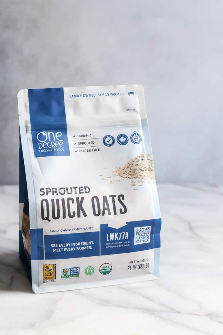 bag of One Degree Sprouted Quick Oats on marble