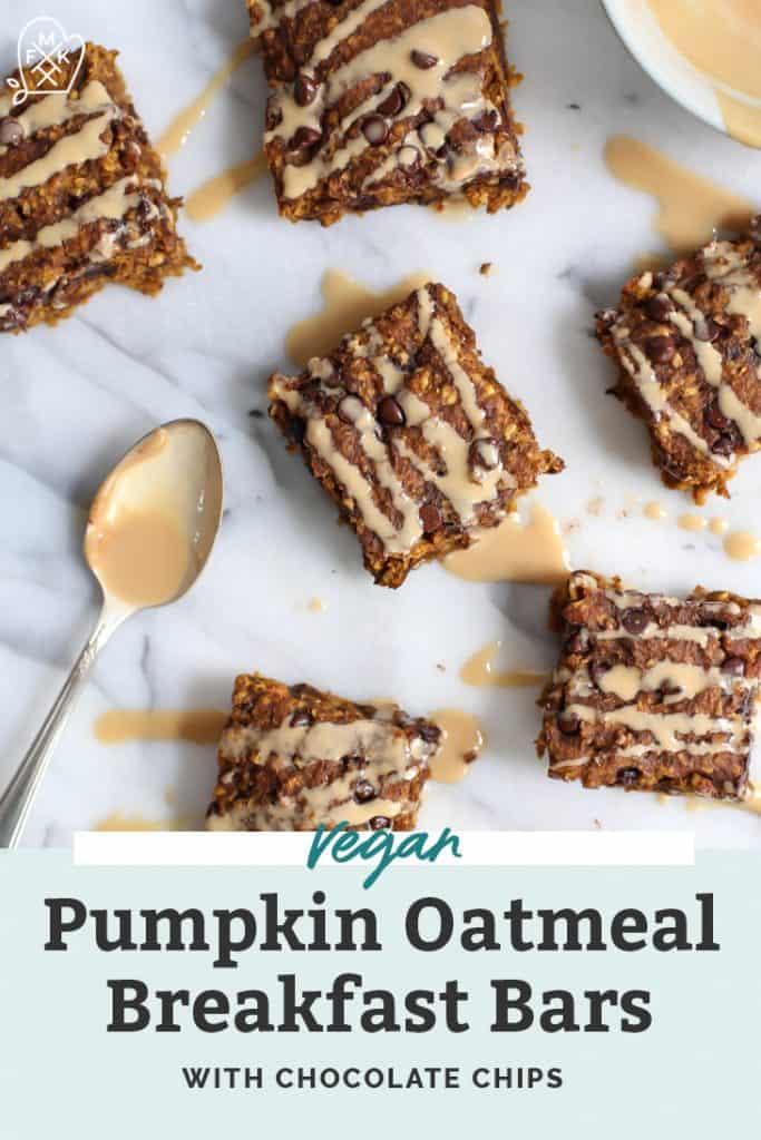 vegan pumpkin oatmeal bars on counter