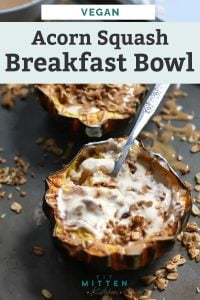two assembled healthy breakfast bowls with granola scattered on baking sheet