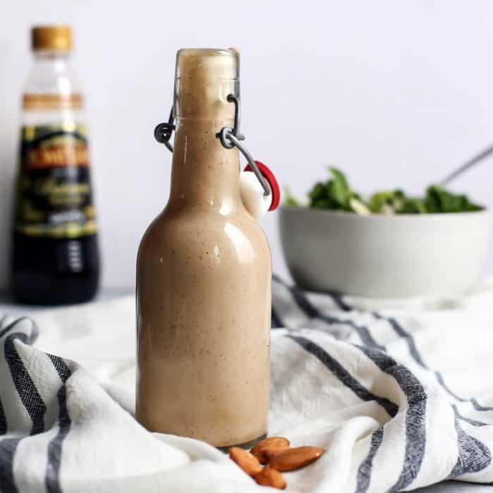 This Balsamic Almond Butter Dressing can be used in SO many ways – it's a fan-favorite. Vegan, paleo and can be made Whole30 with one simple sweetener swap.