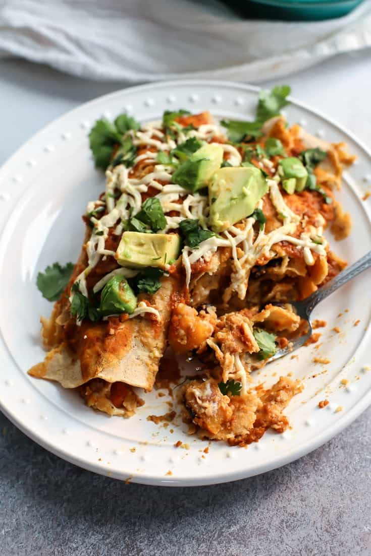 Vegan Butternut Squash Black Bean Enchiladas with a simple pumpkin enchilada sauce. Gluten-free